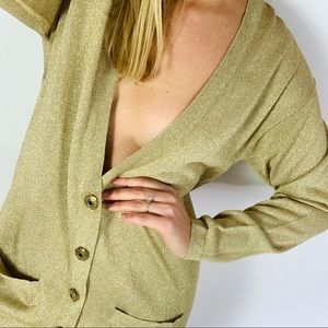 Vintage Metallic Gold Button down Cardigan sweater